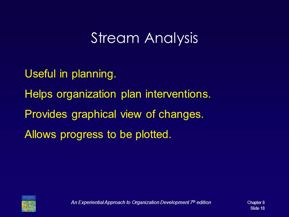 An Experiential Approach to Organization Development 7 th edition Chapter 8 Slide 18 Stream Analysis Useful in planning. Helps organization plan inter