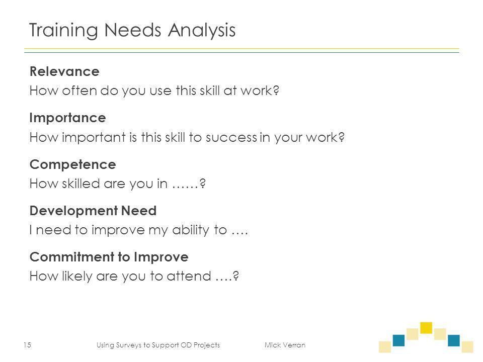 Training Needs Analysis Relevance How often do you use this skill at work? Importance How important is this skill to success in your work? Competence