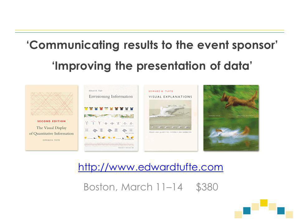 'Communicating results to the event sponsor' 'Improving the presentation of data' http://www.edwardtufte.com Boston, March 11–14 $380
