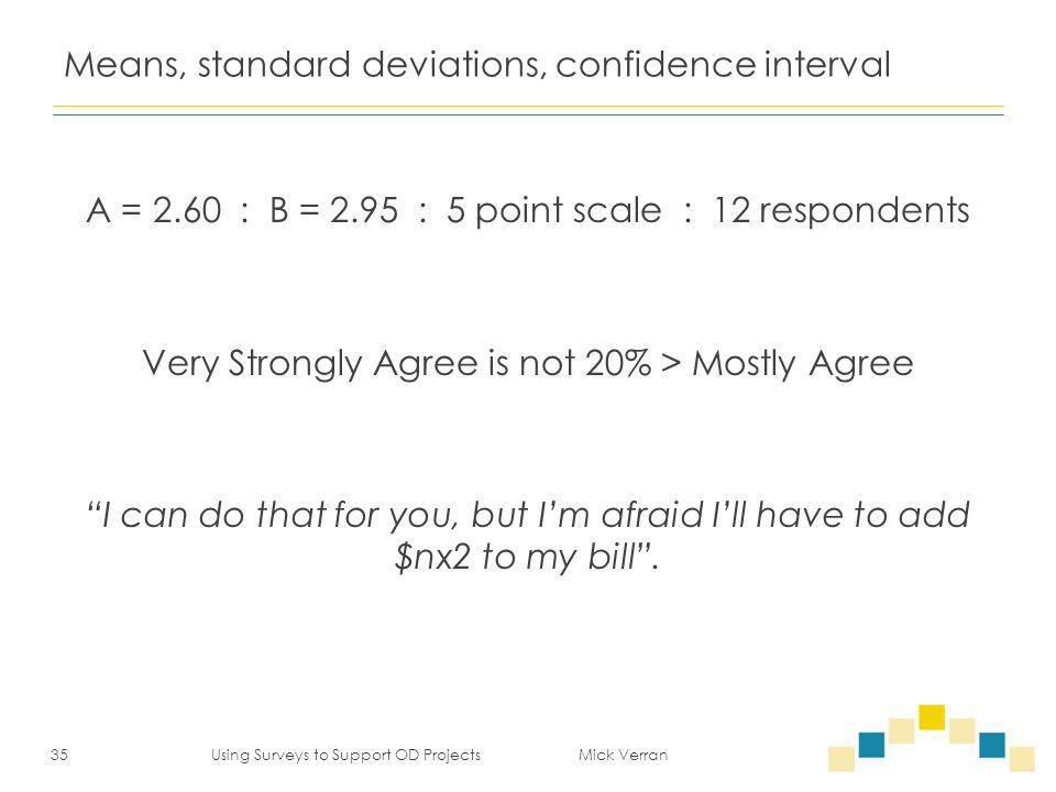 Means, standard deviations, confidence interval A = 2.60 : B = 2.95 : 5 point scale : 12 respondents Very Strongly Agree is not 20% > Mostly Agree I can do that for you, but I'm afraid I'll have to add $nx2 to my bill .