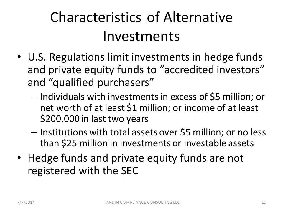 Characteristics of Alternative Investments U.S.
