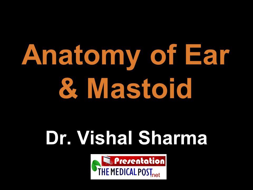 External ear:  Pinna / auricle  External auditory canal Middle ear cleft:  Eustachian tube  Tympanic cavity (middle ear)  Mastoid air cell system Inner ear (labyrinth):  Cochlea  Vestibule  Semicircular canals Parts of ear