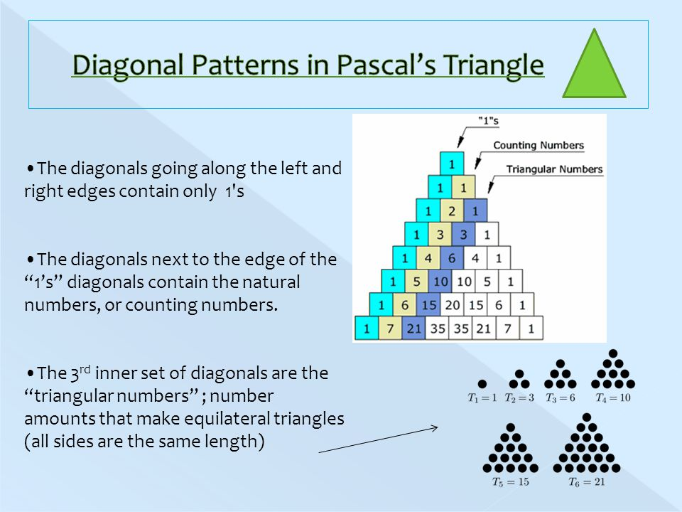 The diagonals going along the left and right edges contain only 1 s The diagonals next to the edge of the 1's diagonals contain the natural numbers, or counting numbers.
