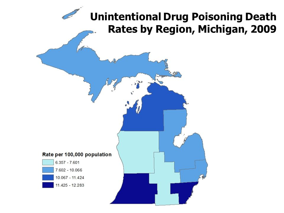 Unintentional Drug Poisoning Death Rates by Region, Michigan, 2009