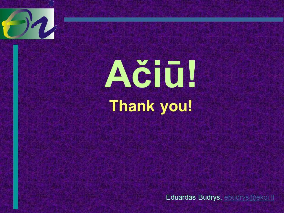 Ačiū! Thank you! Eduardas Budrys, ebudrys@ekoi.ltebudrys@ekoi.lt