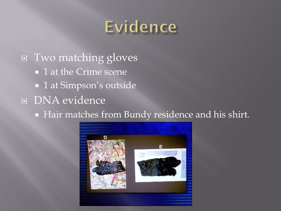  Two matching gloves  1 at the Crime scene  1 at Simpson's outside  DNA evidence  Hair matches from Bundy residence and his shirt.