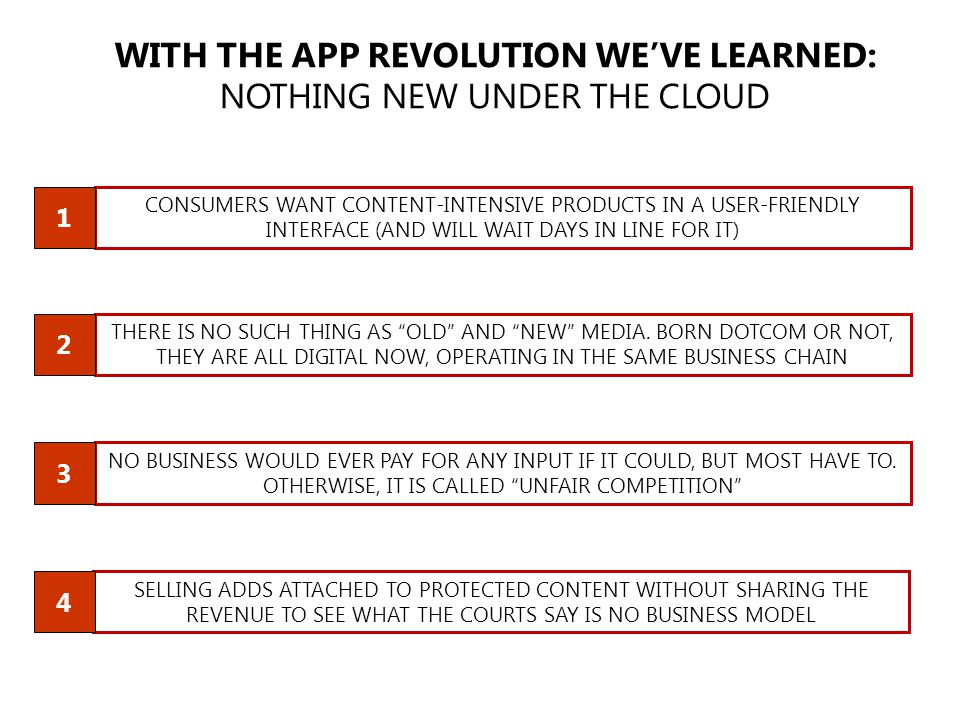 WITH THE APP REVOLUTION WE'VE LEARNED: NOTHING NEW UNDER THE CLOUD CONSUMERS WANT CONTENT-INTENSIVE PRODUCTS IN A USER-FRIENDLY INTERFACE (AND WILL WAIT DAYS IN LINE FOR IT) THERE IS NO SUCH THING AS OLD AND NEW MEDIA.