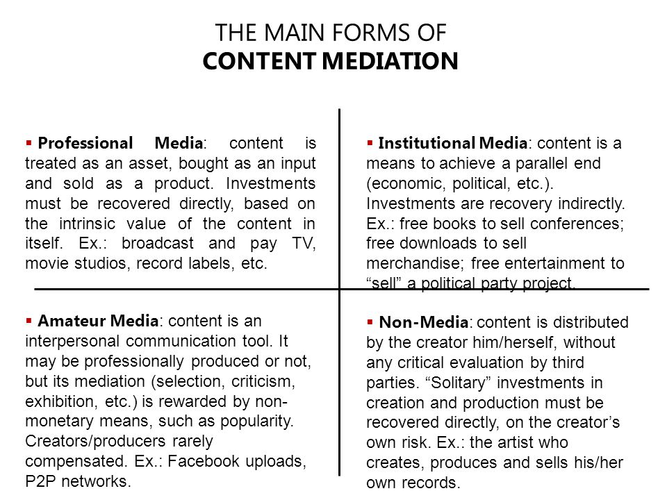  Professional Media : content is treated as an asset, bought as an input and sold as a product.