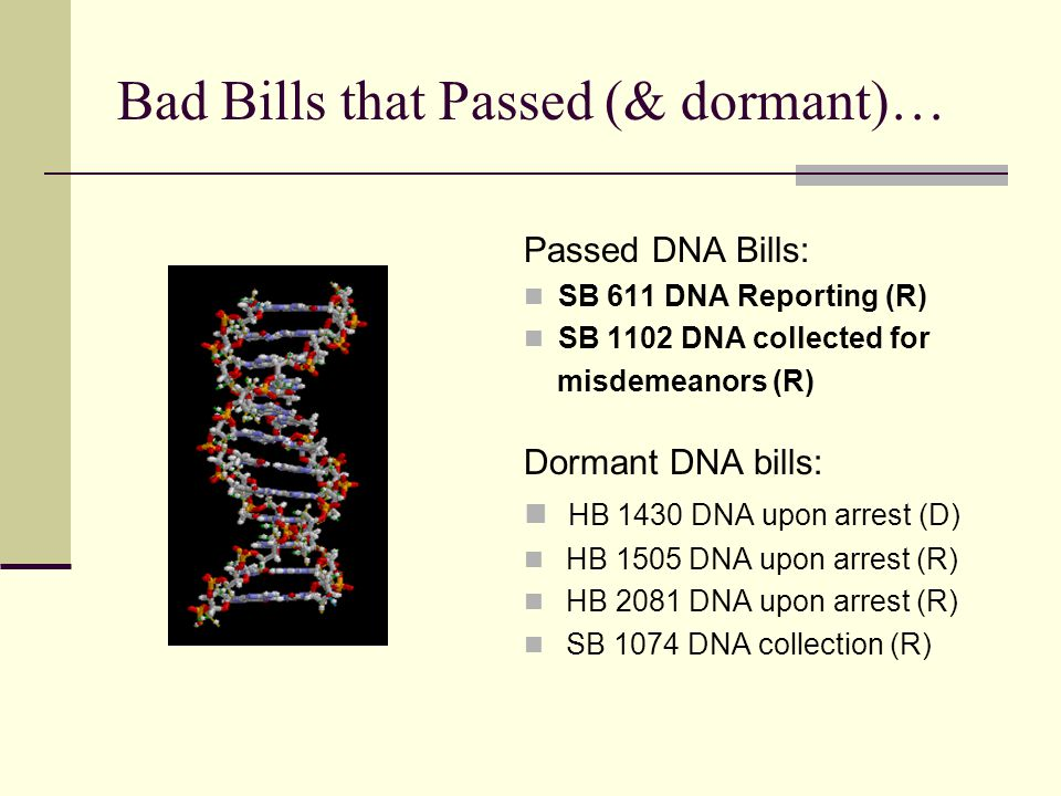 Bad Bills that Passed (& dormant)… Passed DNA Bills: SB 611 DNA Reporting (R) SB 1102 DNA collected for misdemeanors (R) Dormant DNA bills: HB 1430 DNA upon arrest (D) HB 1505 DNA upon arrest (R) HB 2081 DNA upon arrest (R) SB 1074 DNA collection (R)