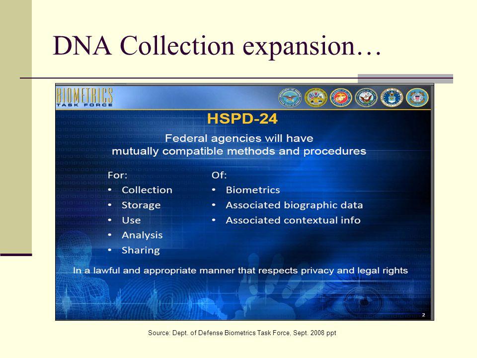 DNA Collection expansion… Source: Dept. of Defense Biometrics Task Force, Sept. 2008 ppt