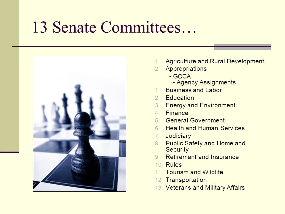 13 Senate Committees… 1. Agriculture and Rural Development 2.