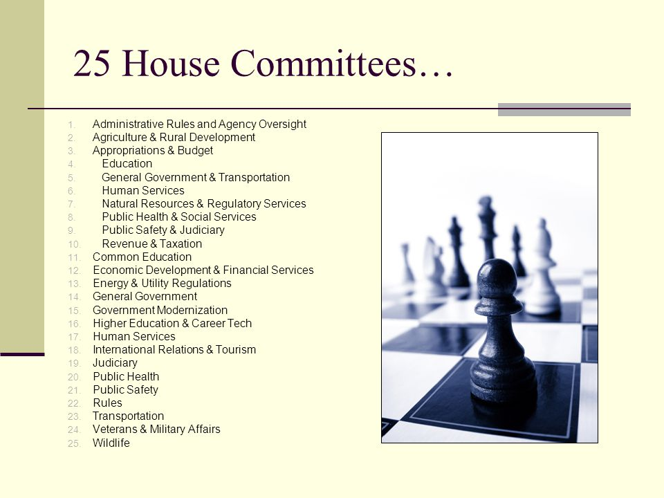 25 House Committees… 1. Administrative Rules and Agency Oversight 2.