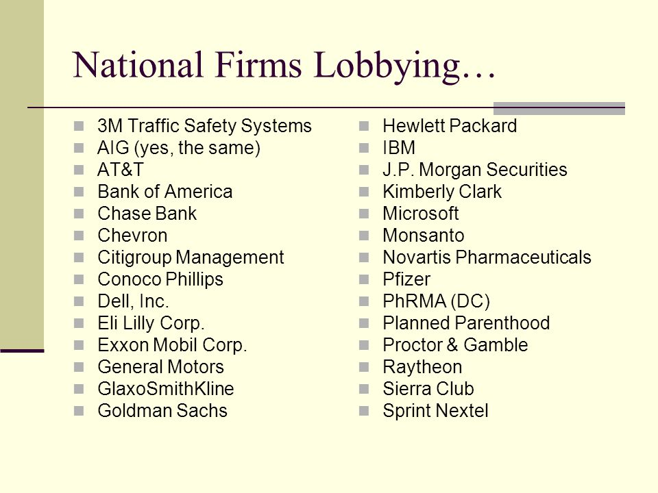 National Firms Lobbying… 3M Traffic Safety Systems AIG (yes, the same) AT&T Bank of America Chase Bank Chevron Citigroup Management Conoco Phillips Dell, Inc.