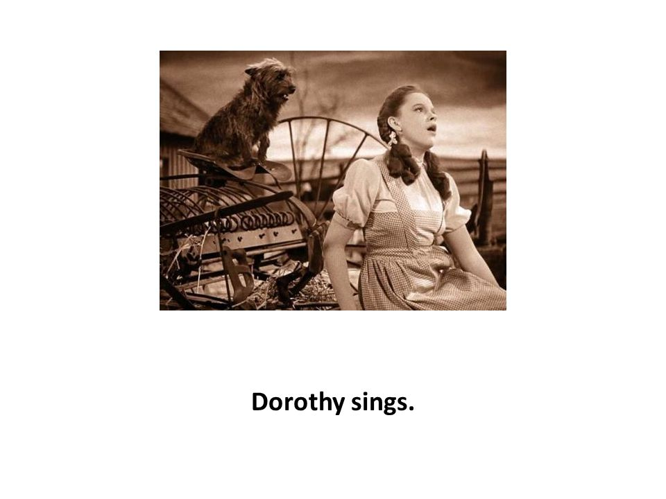 Dorothy gets carried away by a tornado.