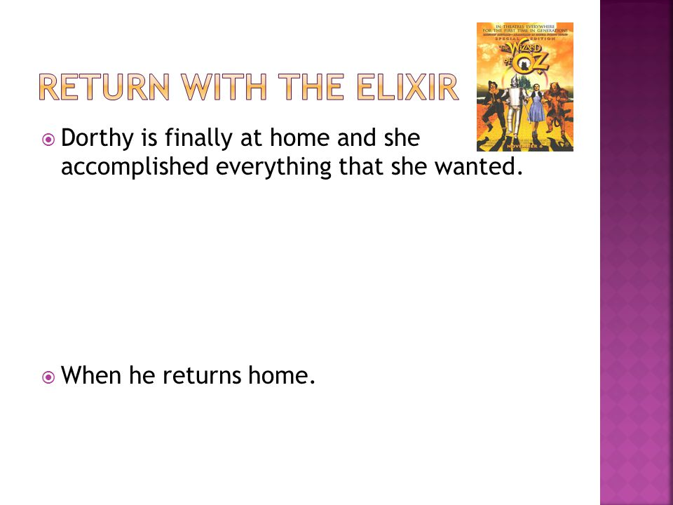 Dorthy is finally at home and she accomplished everything that she wanted.  When he returns home.