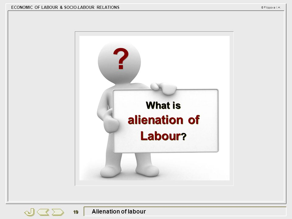 ECONOMIC OF LABOUR & SOCIO-LABOUR RELATIONS © Filippova I.H. 19 Alienation of labour What is alienation of Labour ? ? ?