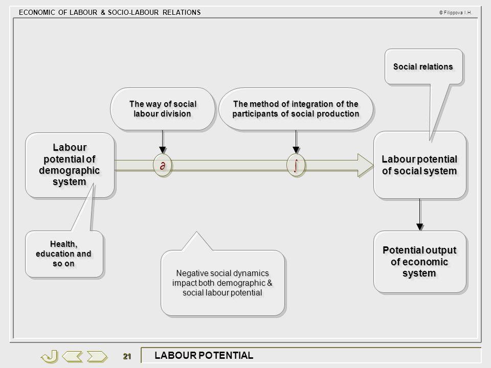 ECONOMIC OF LABOUR & SOCIO-LABOUR RELATIONS © Filippova I.H. 21 LABOUR POTENTIAL ∂∂∫∫ Labour potential of demographic system Labour potential of socia