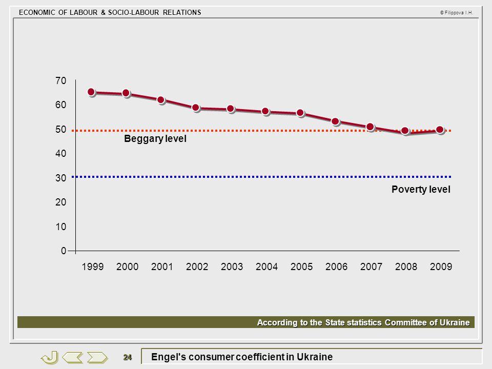 ECONOMIC OF LABOUR & SOCIO-LABOUR RELATIONS © Filippova I.H. 24 Engel's consumer coefficient in Ukraine 30 10 2001 20 40 50 60 70 20022003200420052006