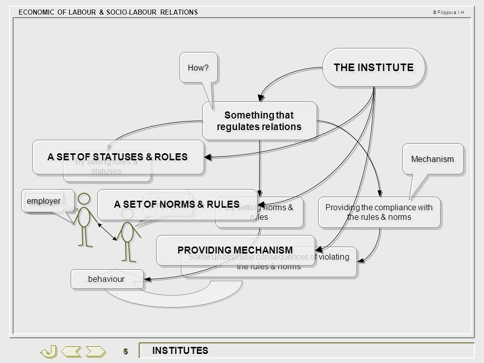 ECONOMIC OF LABOUR & SOCIO-LABOUR RELATIONS © Filippova I.H. 5 INSTITUTES THE INSTITUTE Something that regulates relations How?How? By setting roles &
