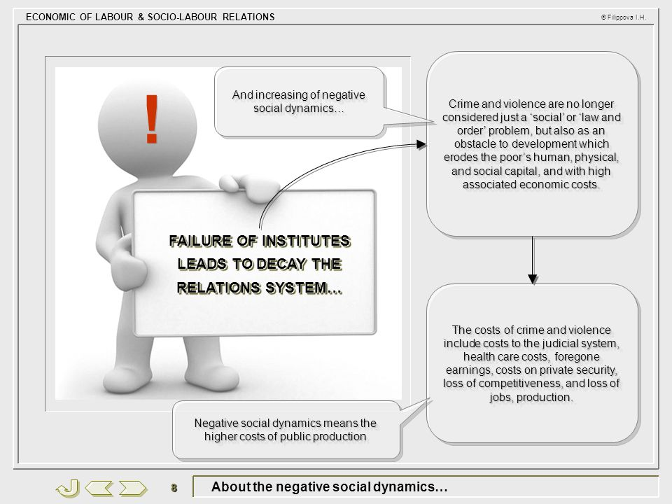 ECONOMIC OF LABOUR & SOCIO-LABOUR RELATIONS © Filippova I.H. 8 About the negative social dynamics… FAILURE OF INSTITUTES LEADS TO DECAY THE RELATIONS