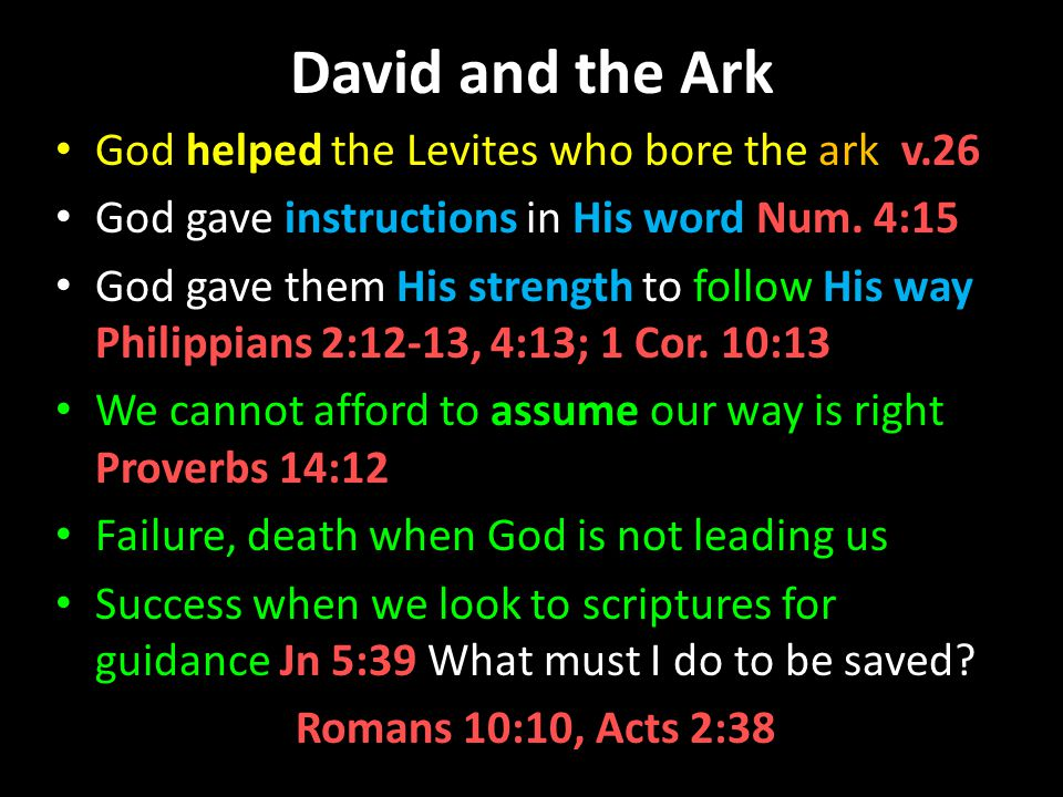 David and the Ark God helped the Levites who bore the ark v.26 God gave instructions in His word Num.