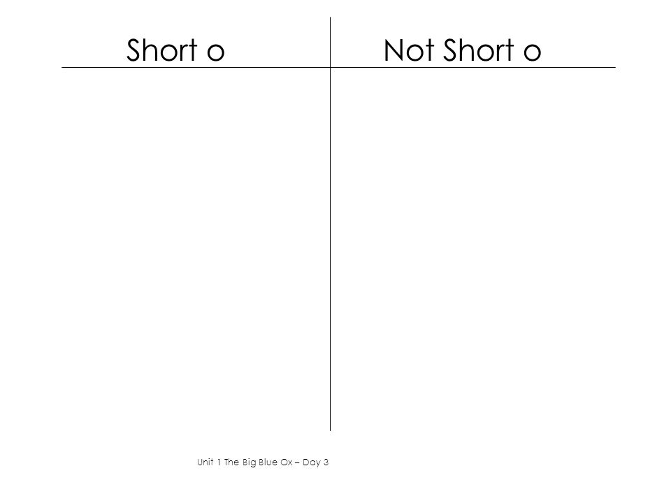 Short o Not Short o Unit 1 The Big Blue Ox – Day 3