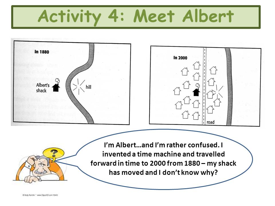 Activity 4: Meet Albert I'm Albert…and I'm rather confused. I invented a time machine and travelled forward in time to 2000 from 1880 – my shack has m