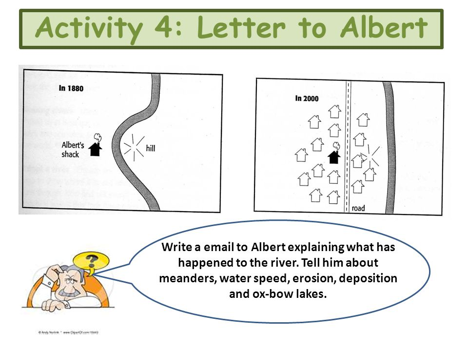Activity 4: Letter to Albert Write a email to Albert explaining what has happened to the river. Tell him about meanders, water speed, erosion, deposit