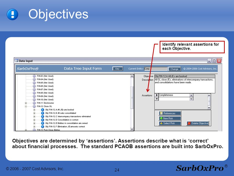 © 2006 - 2007 Cost Advisors, Inc. 24 ® Objectives Identify relevant assertions for each Objective.