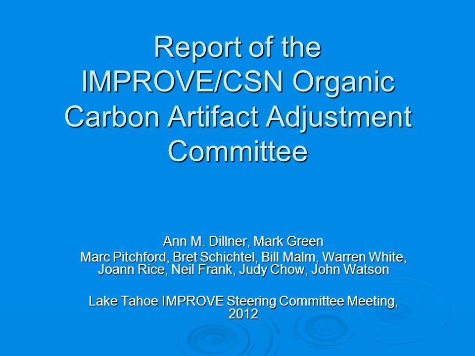 IMPROVE/CSN OC Artifact Committee Tasks 1.
