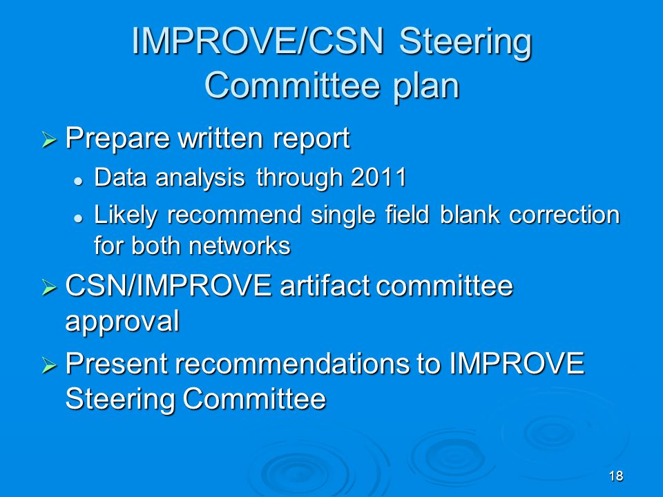 IMPROVE/CSN Steering Committee plan  Prepare written report Data analysis through 2011 Data analysis through 2011 Likely recommend single field blank correction for both networks Likely recommend single field blank correction for both networks  CSN/IMPROVE artifact committee approval  Present recommendations to IMPROVE Steering Committee 18