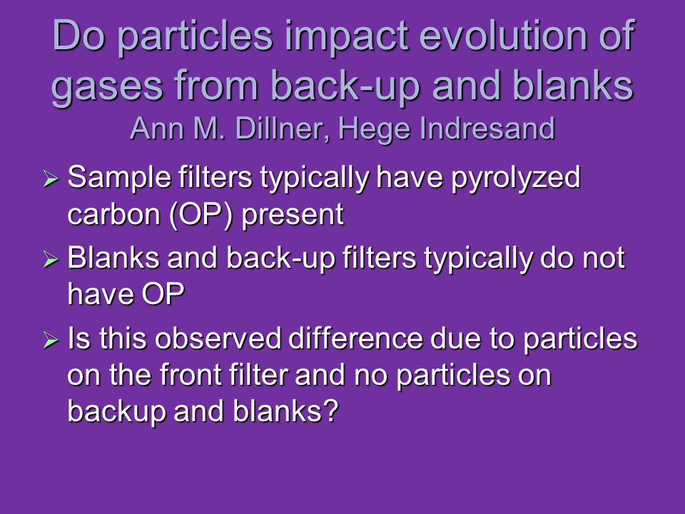 Do particles impact evolution of gases from back-up and blanks Ann M.