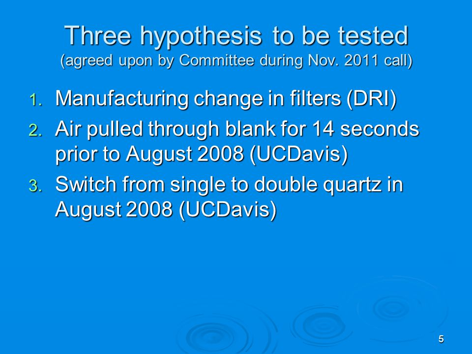 Hypothesis 1: Manufacturing change to filters Surface area/mass is similar for 3 filters with different masses Mass variability within lot at least as big as between lot Mass does not correlate with OC in laboratory blanks CNL plans to start tracking lot number when new laboratory software is developed 6 Small numbers between gridlines are manufacturer lot number