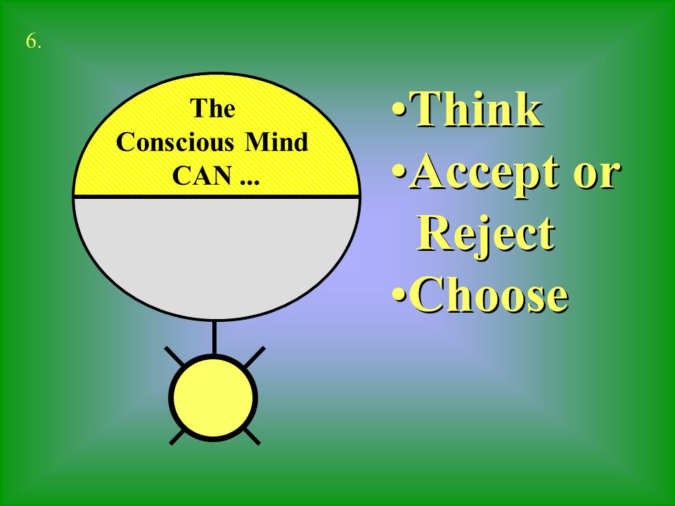 Cannot Choose Cannot Reject Must Accept Cannot Choose Cannot Reject Must Accept The Sub-Conscious Mind 7.