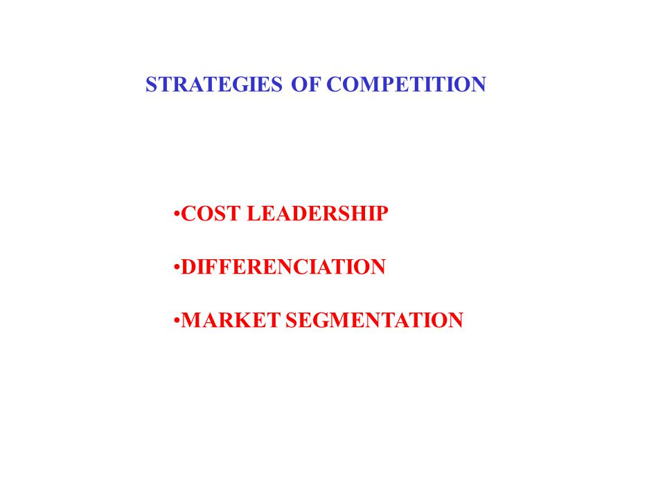 STRATEGIES OF COMPETITION COST LEADERSHIP DIFFERENCIATION MARKET SEGMENTATION