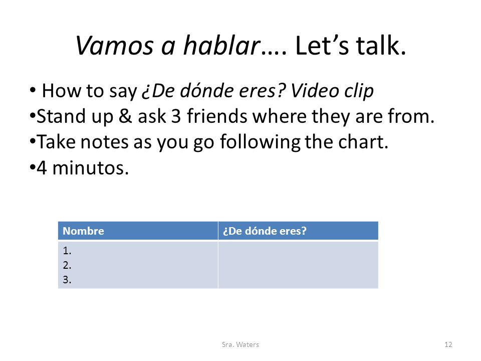 Vamos a hablar…. Let's talk. Sra. Waters12 How to say ¿De dónde eres? Video clip Stand up & ask 3 friends where they are from. Take notes as you go fo