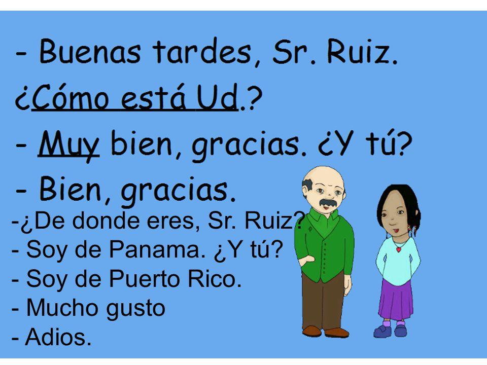-¿De donde eres, Sr. Ruiz? - Soy de Panama. ¿Y tú? - Soy de Puerto Rico. - Mucho gusto - Adios.