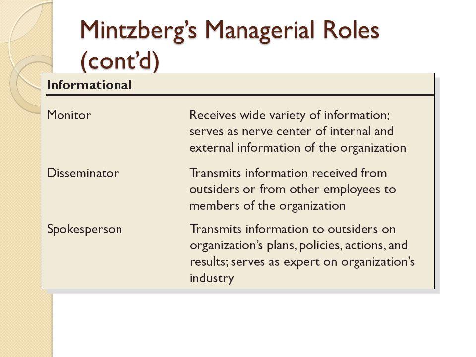 Mintzberg's Managerial Roles (cont'd)
