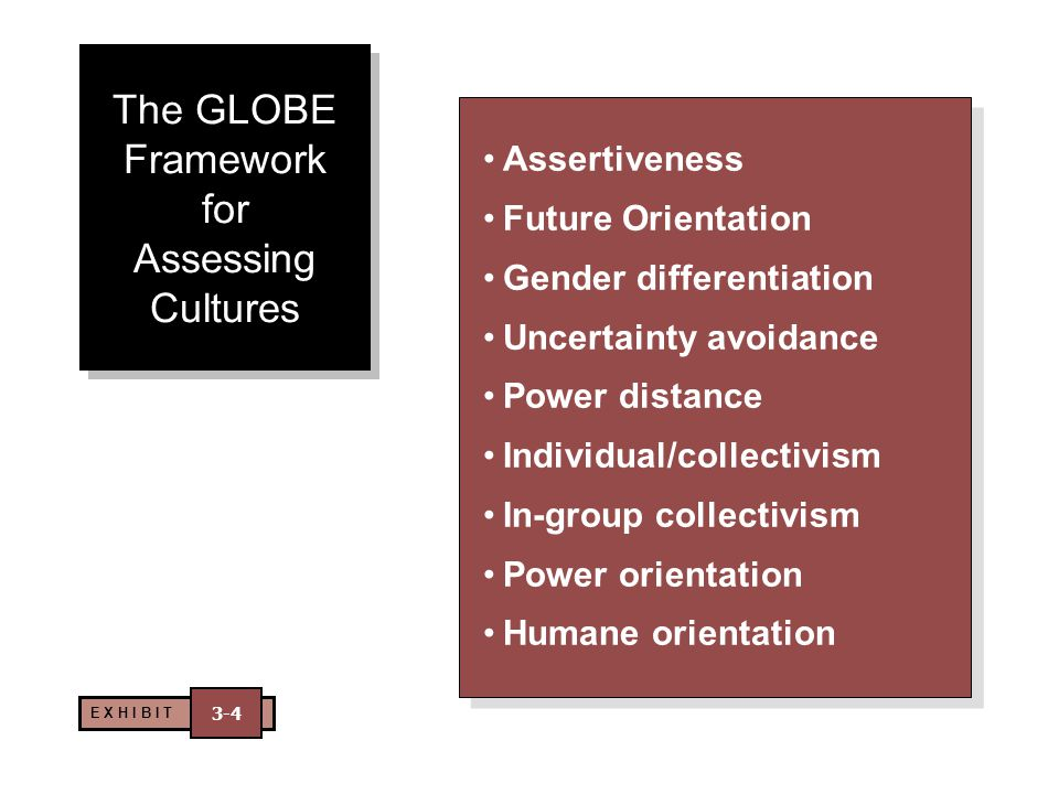 The GLOBE Framework for Assessing Cultures Assertiveness Future Orientation Gender differentiation Uncertainty avoidance Power distance Individual/col