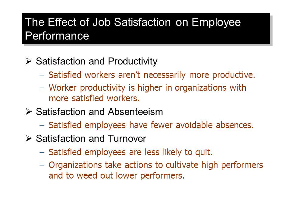 The Effect of Job Satisfaction on Employee Performance  Satisfaction and Productivity –Satisfied workers aren't necessarily more productive. –Worker