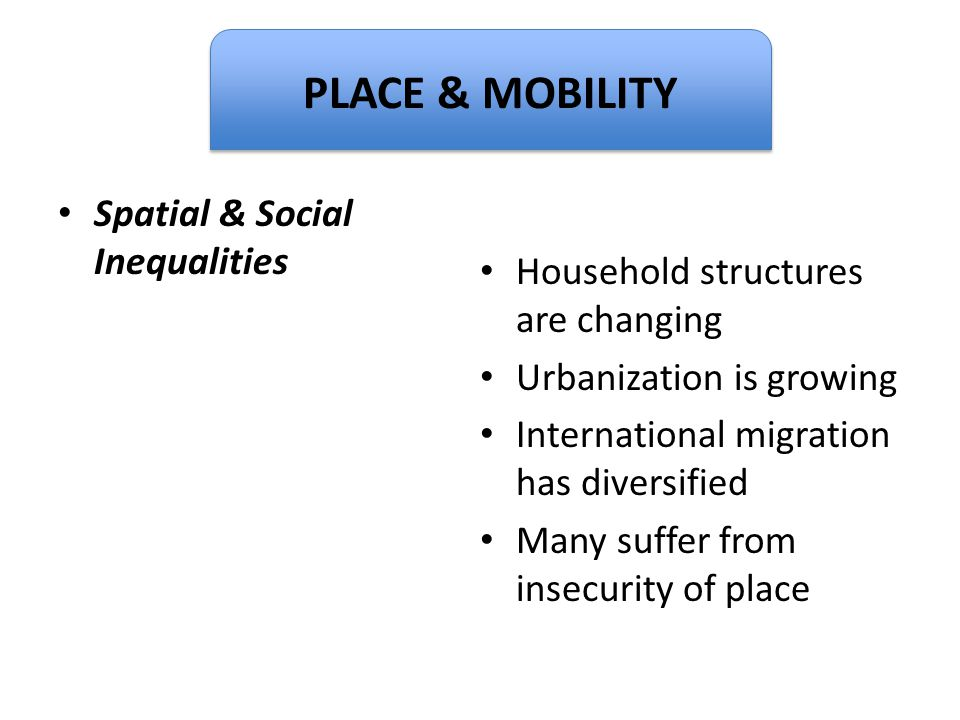 Dignity Spatial & Social Inequalities Household structures are changing Urbanization is growing International migration has diversified Many suffer fr