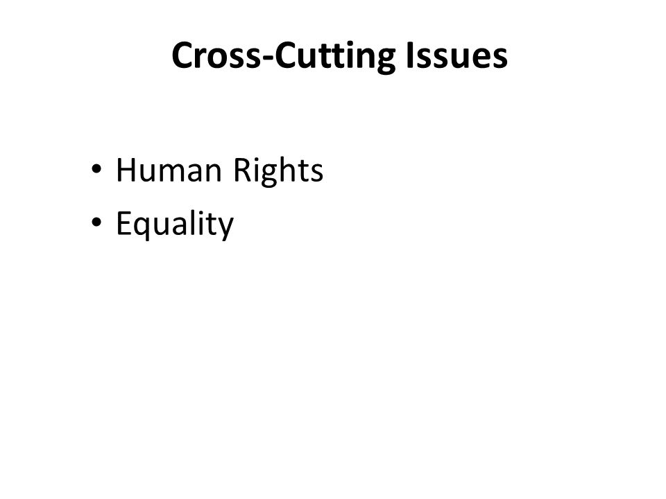 Human Rights Equality Cross-Cutting Issues