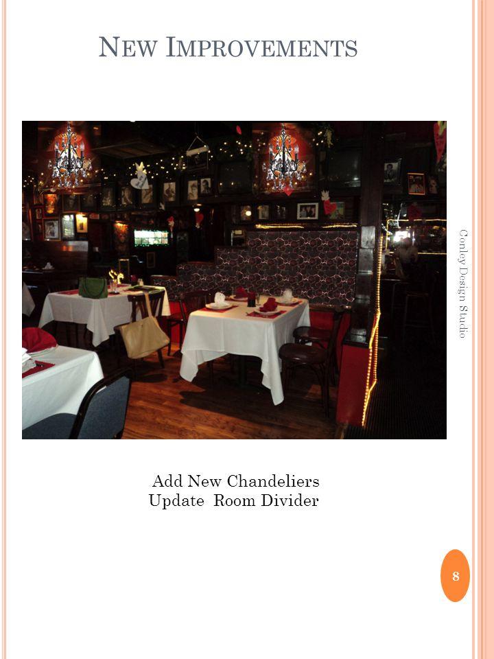 8 Conley Design Studio N EW I MPROVEMENTS Add New Chandeliers Update Room Divider