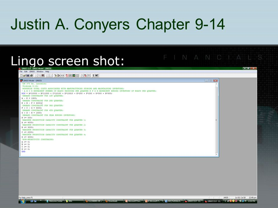 Justin A. Conyers Chapter 9-14 Lingo screen shot: