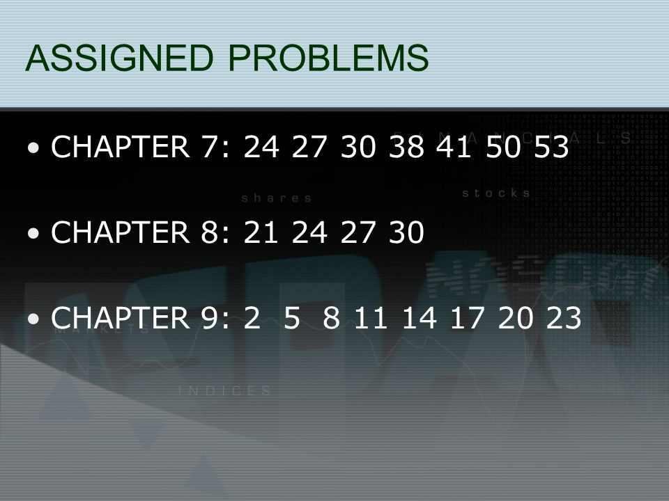 ASSIGNED PROBLEMS CHAPTER 7: 24 27 30 38 41 50 53 CHAPTER 8: 21 24 27 30 CHAPTER 9: 2 5 8 11 14 17 20 23