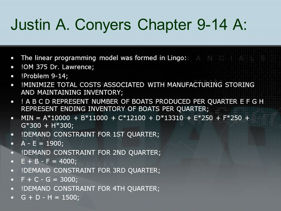 Justin A. Conyers Chapter 9-14 A: The linear programming model was formed in Lingo: !OM 375 Dr.