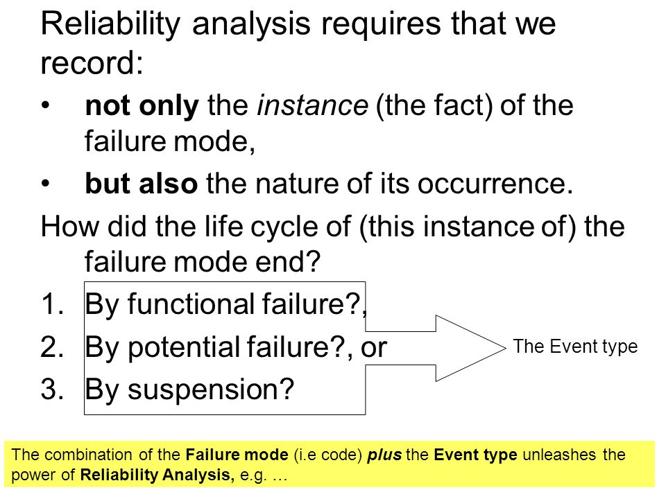 Reliability analysis requires that we record: not only the instance (the fact) of the failure mode, but also the nature of its occurrence. How did the
