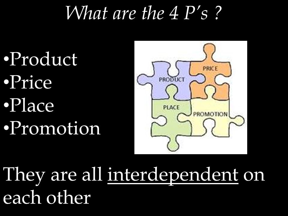 What are the 4 P's ? Product Price Place Promotion They are all interdependent on each other