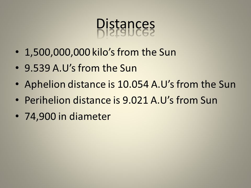 1,500,000,000 kilo's from the Sun 9.539 A.U's from the Sun Aphelion distance is 10.054 A.U's from the Sun Perihelion distance is 9.021 A.U's from Sun