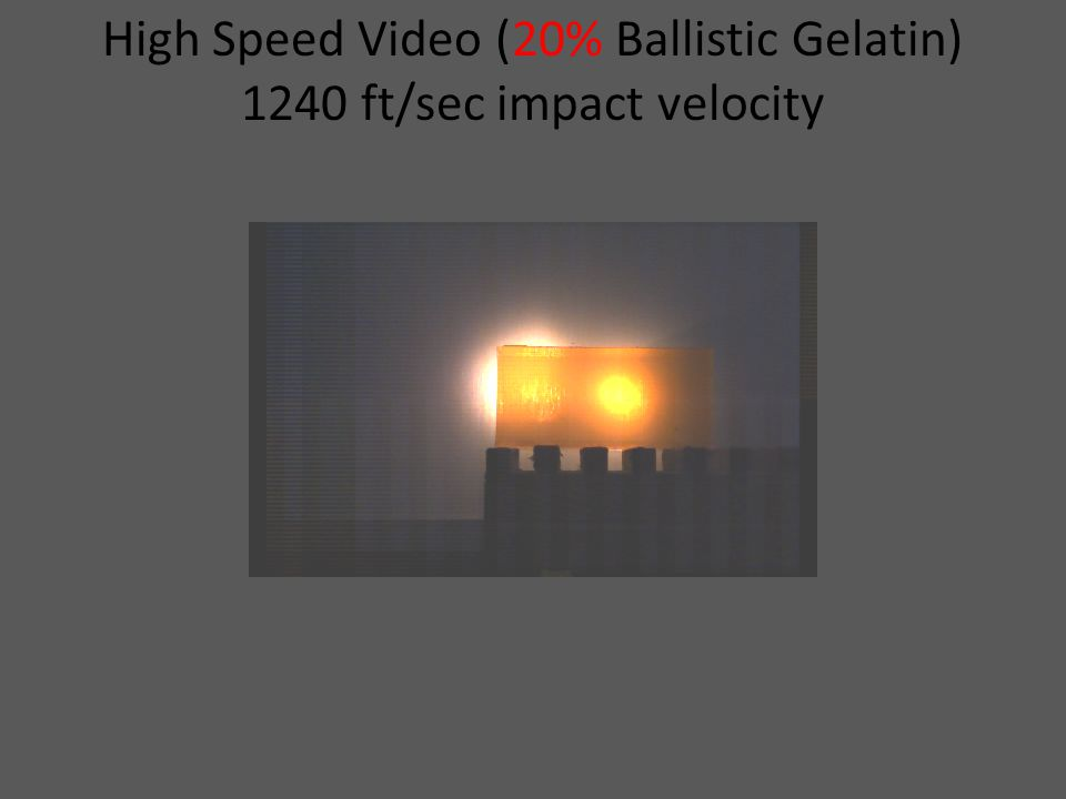 High Speed Video (20% Ballistic Gelatin) 1240 ft/sec impact velocity